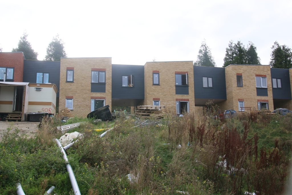 Housing development on upper part of former Ore Business Site, nearing completion.