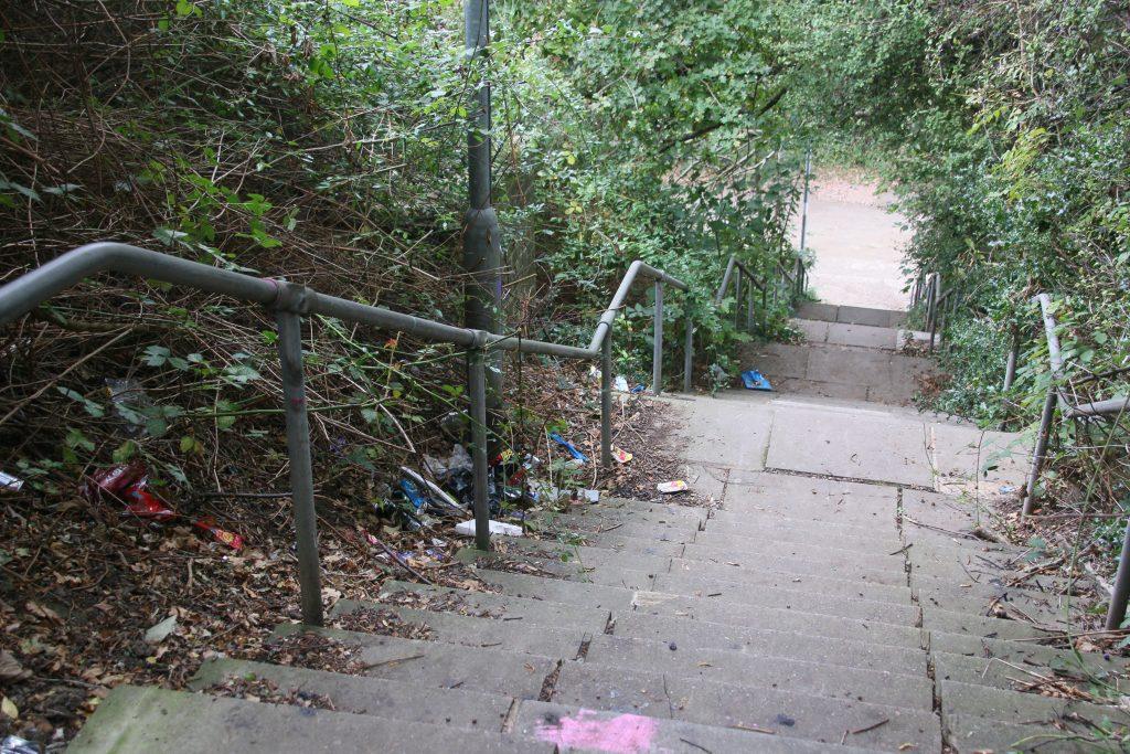 Litter on Falrey Bank steps