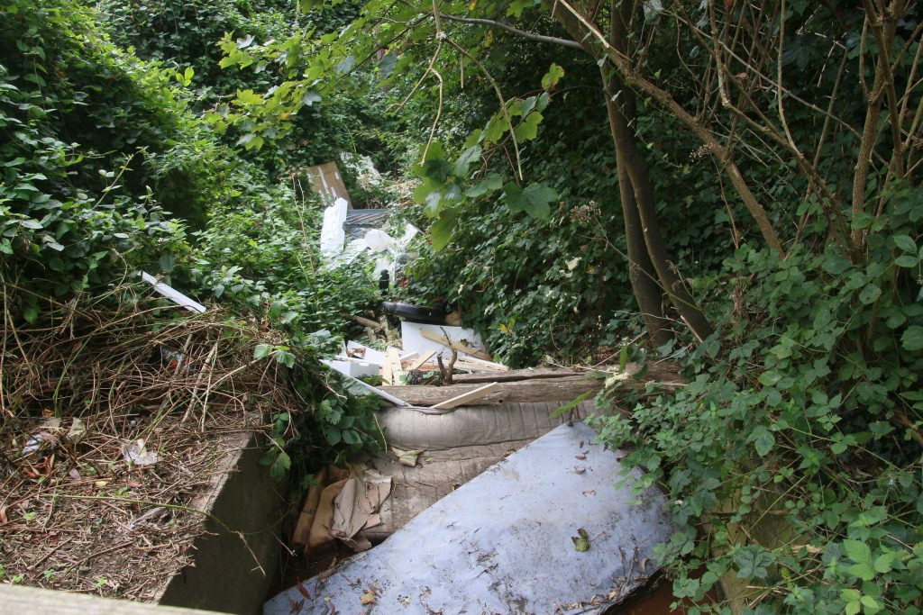 Waterside Close culvert filled with mattresses and other debris