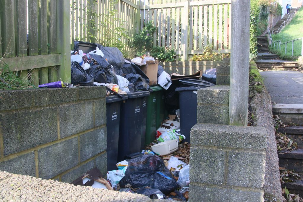 Overflowing wheelie bins, surrounded by bags of rubbish.