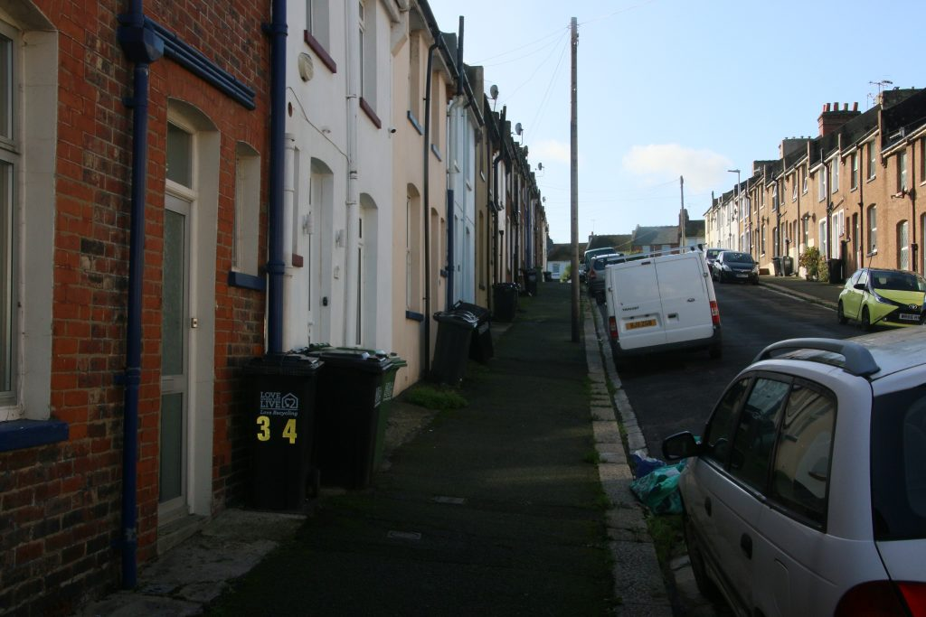 Hardwicke Road, showing wheelie bins on footway