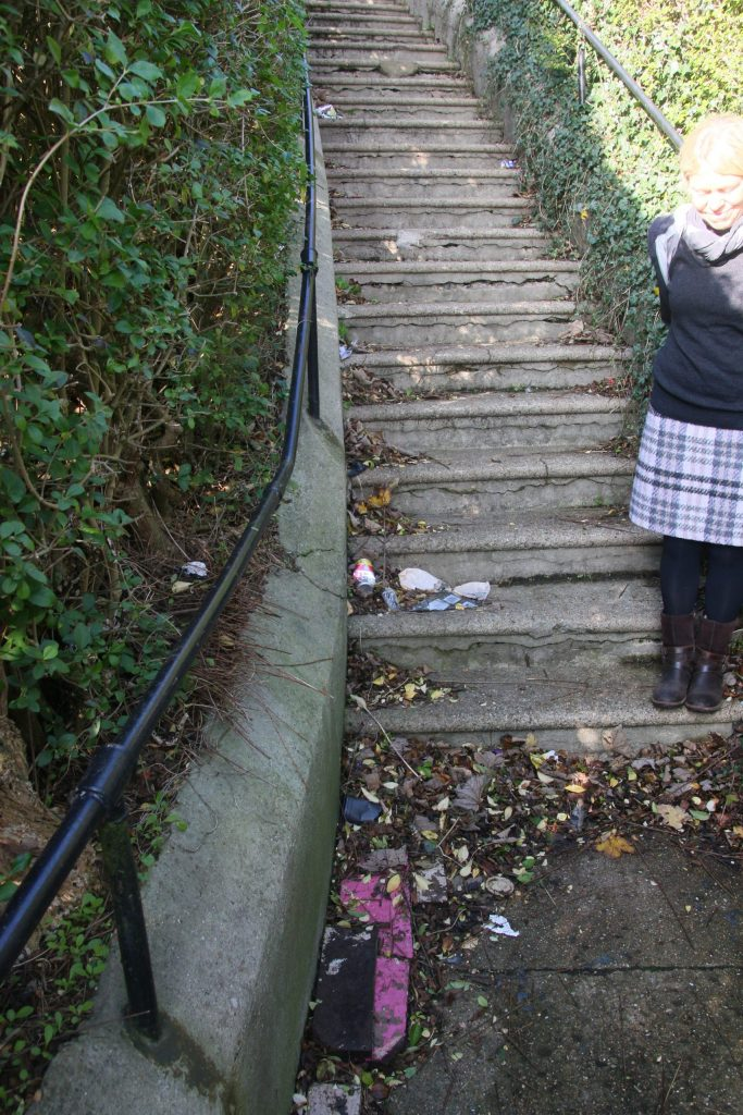 Hardwicke Road steps, with litter and detritus