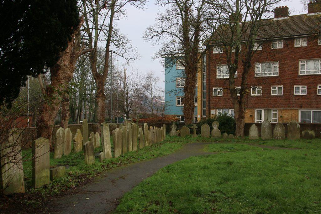 Halton Graveyard, showing gravestones around edge
