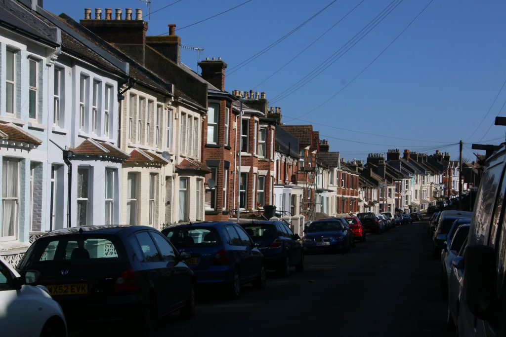 Sunlit Victorian terraced houses