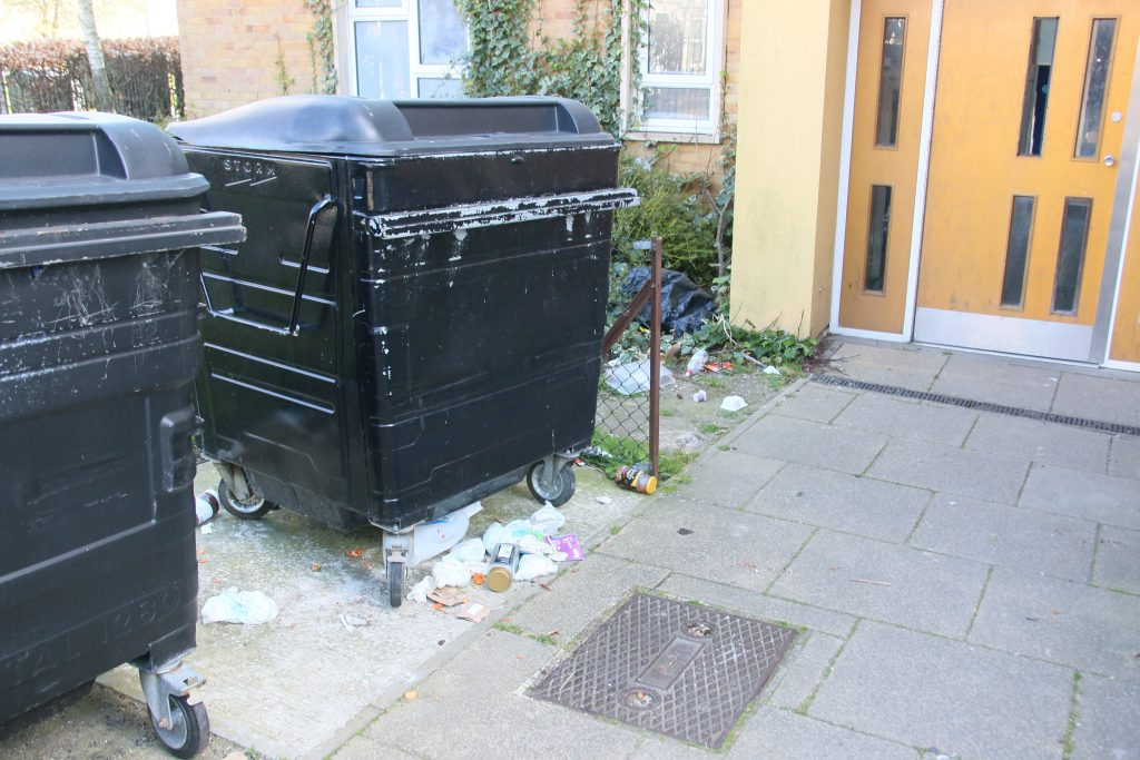 Communal refuse bin surrounded by litter