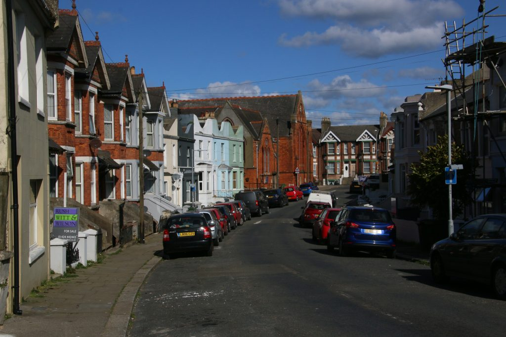 Calvert Road, small road with Victorian terraces, large brick-built chapel at the end