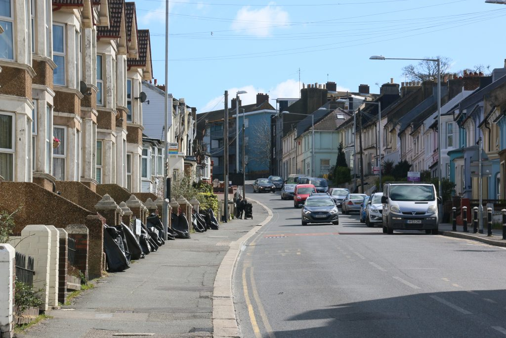 Mount Pleasant Road, road ascending gently uphill, Victorian terraced houses