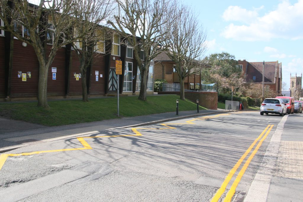 Fresh yellow lines and clearway markings outside school