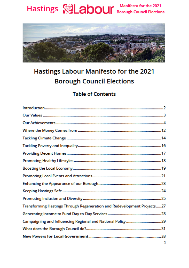 Font page of Labour's 2021 Hastings Council manifesto
