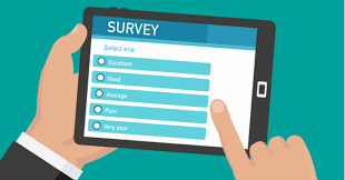 graphic of survey on a tablet, being completed